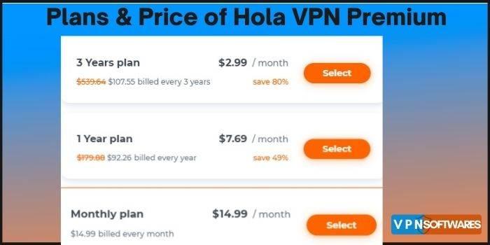 Plans & Price of Hola VPN Premium