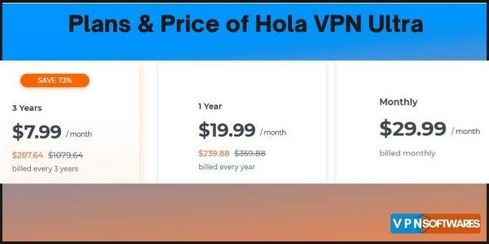 Plans & Price of Hola VPN Ultra